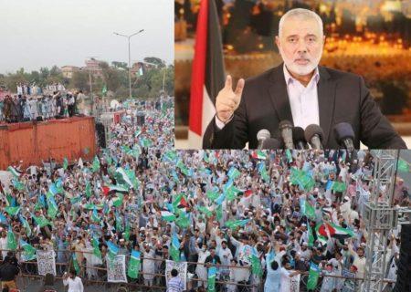 فلسطین کی حمایت پر پاکستانیوں کے شکرگزار ہیں،کامیابی فلسطین، بیت المقدس اور مبارک جہاد کی ہوگی،اسماعیل ہنیہ