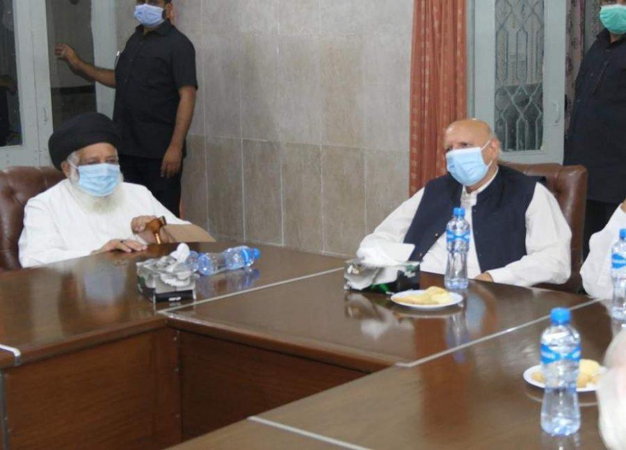 گورنر پنجاب چودھری سرور کی جامعہ المنتظر آمد، حضرت آیت اللہ ریاض نجفی سے ملاقات