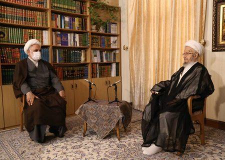 ایرانی چیف جسٹس کی آیت اللہ العظمیٰ مکارم شیرازی سے ملاقات+تصاویر