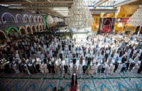 تصویری رپورٹ| حرم حضرت عباسؑ میں دو سال بعد دوبارہ باجماعت نماز کی ادائيگی